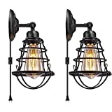 Industrial Wall Sconce Plug in E26 Base Vintage Style Wire Cage Wall Lights with 5.9Ft Adjustable Cord Edison Plug in Sconce Fixture for Headboard Bedroom Porch Bathroom 2 Pack