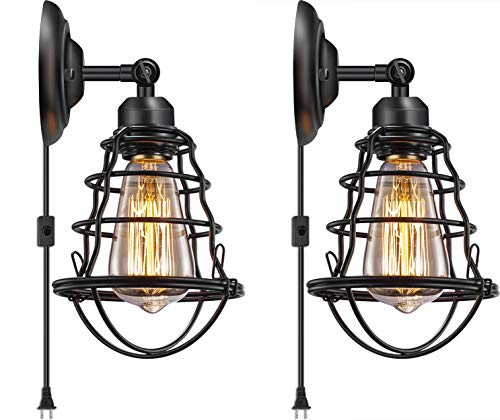 (Industrial Plug in Wall Light E26 Base Edison Wire Cage Style Vintage Wall Lights with 5.9Ft Adjustable Plug in Cord Rustic Wall Sconce Fixture for Headboard Bedroom Porch Bathroom 2 Pack Hardwired)