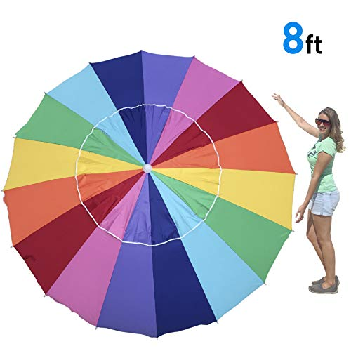EasyGO Rainbow Beach Umbrella – Portable Wind Beach Umbrella Folding Beach Umbrella Set with Screw Anchor and Carrying Bag Rainbow-8Ft