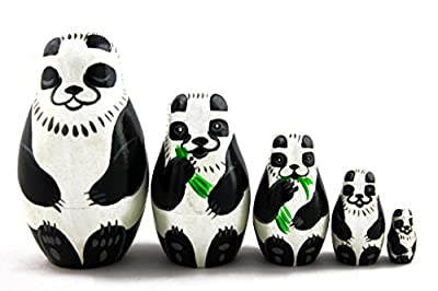 Matryoshka Matrioska Babuska Russian Nesting Wooden Doll Panda Matryoshika Babushka 5 Pcs Stacking Hand Painting Beautiful Nested Craft Matriosjka Matrioska Matreshka Matrjoska Matroeska