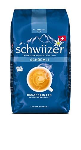 Schwiizer Schüümli Decaffeinato Ganze Kaffeebohnen (Stärkegrad 1/5, Premium Arabica), 3er pack (3 x 500 g)