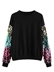 Black Round Neck With Sequin Long Sleeve Sweatshirt