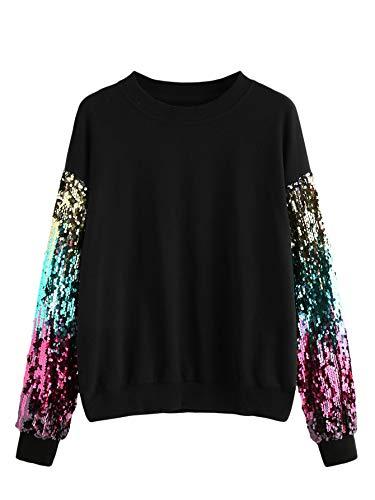 (Verdusa Women's Round Neck Sequin Contrast Long Sleeve Sweatshirt Black)