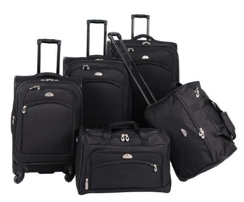 American Flyer Luggage South West Collection 5 Piece Spinner Set, Black, One (Collection 5 Piece Luggage Set)