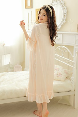 Camellia12 Fantastic Satin Robe Set Lace Chemise Full Slips with Victorian Robe by Camellia12 (Image #6)