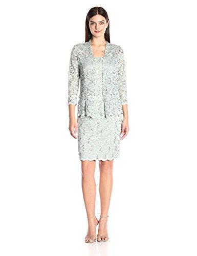 Onyx Nite Women's Short Metallic Lace Dress and Jacket, Sage, 8 by Onyx Nite