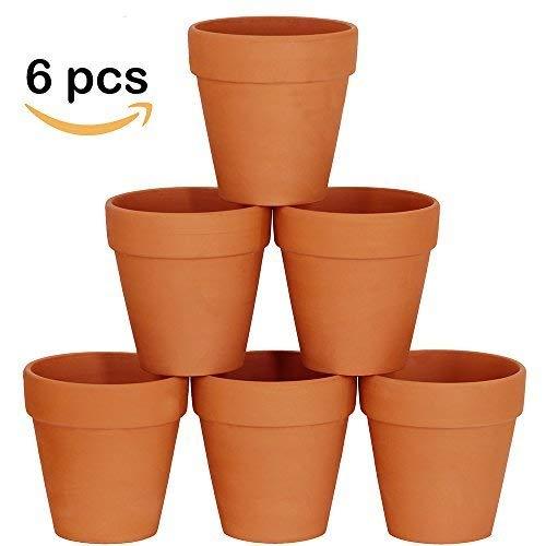 (Winlyn 6 Pcs Large Terracotta Pot Clay Pots 5'' Clay Ceramic Pottery Planter Cactus Flower Pots Succulent Pot Drainage Hole- Great for Plants,Crafts,Wedding)