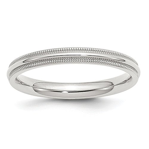 JewelrySuperMart Collection Sterling Silver 3mm Plain Half Round Classic Comfort-fit Wedding Band with Milgrain Edge - Size 5.5