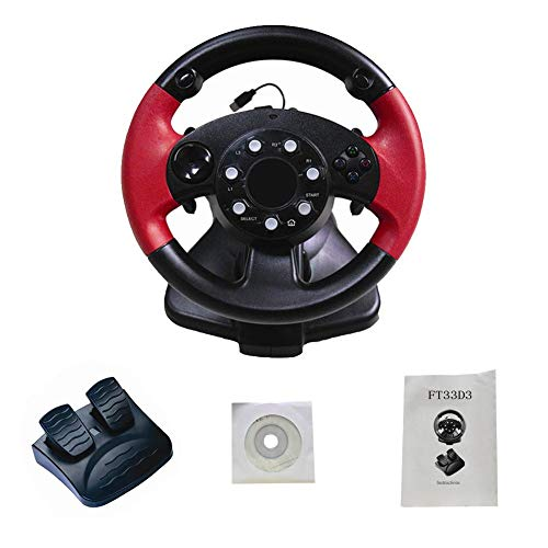 Game Steering Wheel for FT33 Series 200° Rotation Angle,Computer Video Game Racing Wheels, Dual Motor Vibration PS 3/PS 2/PC (D-Input/X-Input/Steam) ()