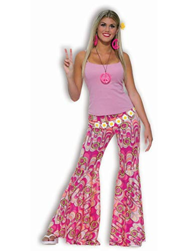 Flower Power Halloween Costume (Fun World Women's Power Bell Bottoms Adult Costume, Groovy Pink M/L,)