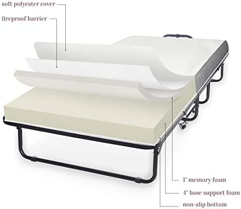 """Milliard Diplomat Folding Bed – Cot Size - with Luxurious Memory Foam Mattress and a Super Strong Sturdy Frame – 75"""" x 31"""