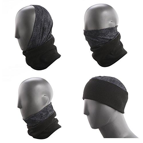Topnaca Mens-Womens Fleece Neck Warmer Gaiter Face Mask Hood Snood Beanie Scarf Ski Hat, Multifunctional Headwear for Walking Cycle Snowboard Skiing Running Motorcycle Winter Sports (Black)