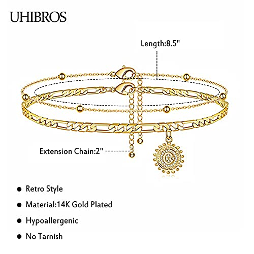 UHIBROSInitial Ankle Bracelets for Women Teen Girls, 14K Gold Plated Double Layered Initial Anklet Bracelet, Alphabet Letter Coin Pendant Jewelry for Beach, Party, Holiday-C