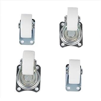 eDealMax 1.5 Rueda de tono Plata Top placa fija Rueda giratoria Set 4 piezas