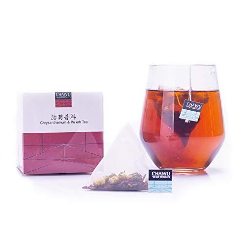(Cha Wu-Chrysanthemum & Puerh Tea Bag,16 Tea bags,8 Count/Boxs(Pack of 2),Natural Chrysanthemum Tea Buds with Royal Puerh Tea Loose Leaf )