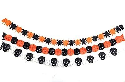 CECII 3in1 Creative Halloween Ribbon Banner Spider/Pumpkin Faces/Skull 3in1 (10ft)