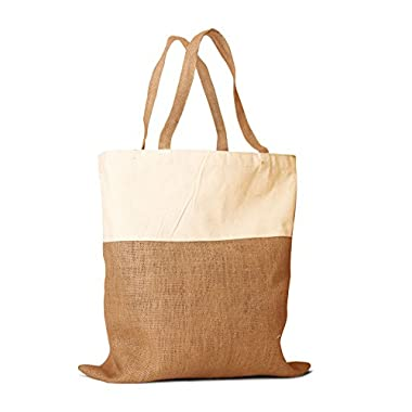 Pack of 2 - Un laminated Jute Burlap and Cotton Shopping Tote Bag with cotton handles all natural in color size 17.5 W X 18 H Eco-friendly Reusable Bag - Summer Bags