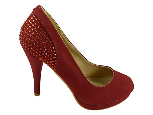 Chaussmaro - Zapatos de Vestir Mujer Rojo - rojo