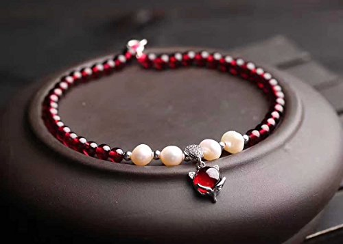 TKHNE mm natural burgundy garnet Foot Chain anklet with Micro Pave necklace pendant fox + natural freshwater pearls fashion