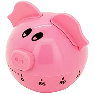 Cooking Kitchen Timer Manual Mechanical Alarm With Clock Cute Loud Pink Pig