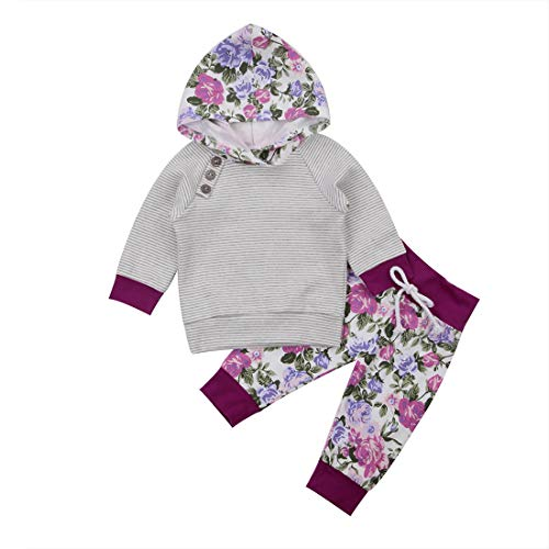 Popshion Newborn Baby Boy Girl Floral Long Sleeve Hoodie Tops Pants Clothes Set Outfits