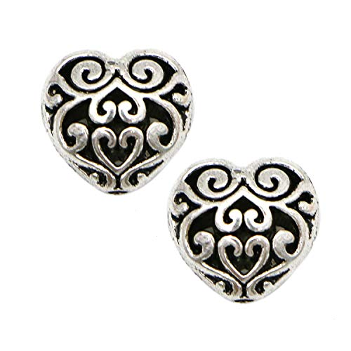 Monrocco 20 Pack Metal Silver Hollow Heart Spacer Beads Charms for Bracelets Jewelry Making ()
