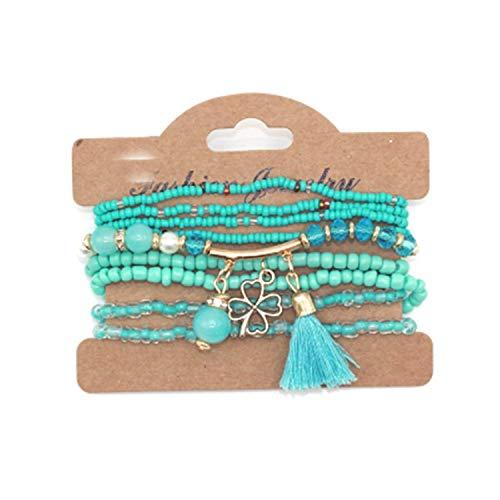 Worth 9pcs/set Brand Seed Beads Tassel Clover Bracelets & Bangles Strand Stretch Friendship Bracelets Pack for Women,blue