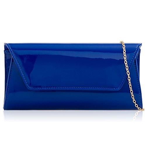 Vinyl Over Women Finish London Handbags Xardi Clutch Blue Party Large Patent Baguette Flap Leather Bag For Royal vqwH0z
