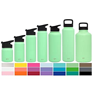 Simple Modern 64oz Summit Water Bottle + Extra Lid - Vacuum Insulated Stainless Steel Big Wide Mouth Hydro Travel Growler - Powder Coated Double Wall Large Flask - Mint