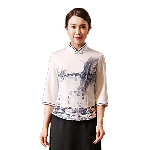 XINFU Women Work Clothes Summer Chinese Tea Restaurant Ink Printing Vertical Collar Chef Coat Uniform