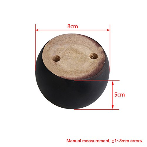 4pcs 50mm Height Black Eucalyptus Wood Round Bun Furniture Feet