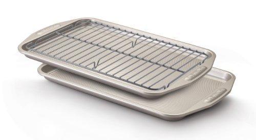 Circulon Nonstick 3-Piece Bakeware Set (2 10x15 Cookie Pans, 1 9.8 x 14.6 Cooling Rack)