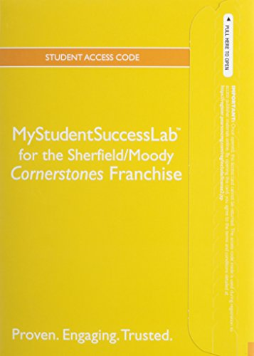 NEW MyStudentSuccessLab With Pearson EText -- Standalone Access Card -- For The Cornerstones Franchise