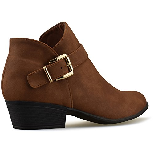 Toe Tan Comfortable Standard Women's Heel Walking Low Premium Closed Boot Bootie Strappy Premier Casual Buckle Ug6q6R
