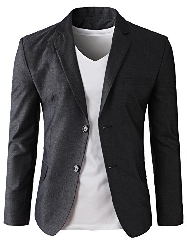 H2H Men's Casual Double-Breasted Jacket Slim Fit Blazer Charcoal US XL/Asia 3XK (KMOBL0125) by H2H (Image #3)