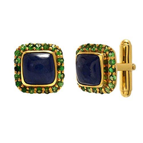 14k Gold Plated Blue Sapphire Gemstone Cufflinks 925 Sterling Silver Tsavorite Gemstone Men's Jewelry by Jaipur Handmade Jewelry