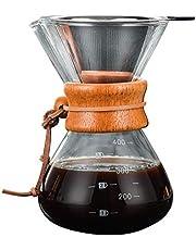 Reuvv Pour Over Coffee Maker Met Borosilicaat Glas Herbruikbaar Roestvrij Staal Permanent Filter Handmatige Koffie Dripper Brewer Met Echte Licht Bruin Houten Mouw