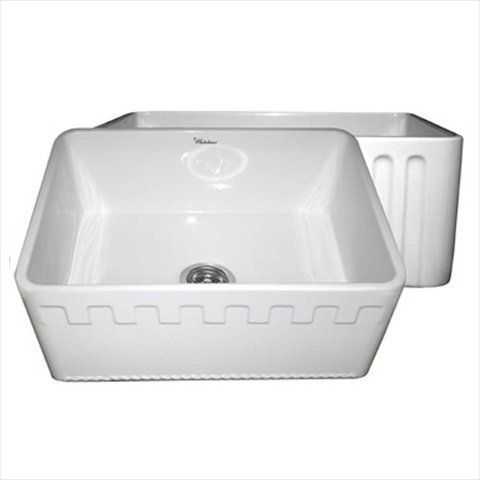 Price comparison product image Whitehaus Home Indoor Farmhouse Kitchen Bathroom Reversible Series Fireclay Sink With An Athinahaus Front Apron One Side And Fluted Front Apron On Opposite Side WHFLATN2418-White by ALFI Trade