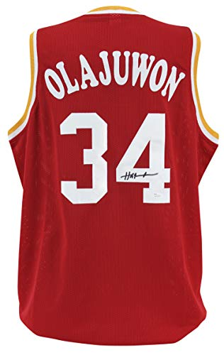 - Rockets Hakeem Olajuwon Authentic Signed Red Jersey Autographed JSA Witness