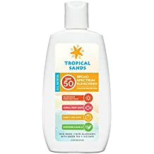 Tropical Sands All Natural SPF 50 Biodegradable Visible Mineral Sunscreen by, Reef Safe, 5.4 Fl Ounces