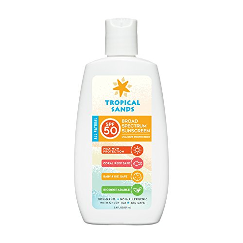 All Natural Biodegradable Sunscreen (Tropical Sands All Natural SPF 50 Biodegradable Visible Mineral Sunscreen by, Reef Safe, 5.4 Fl Ounces)