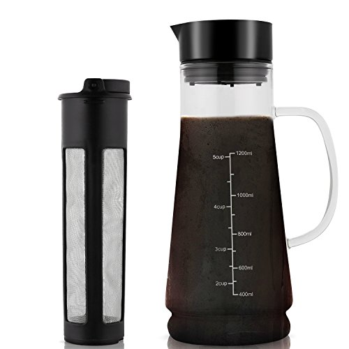 Cold Brew Coffee Maker Glass Iced Mizudashi 1200ml with Removable Stainless Steel Filter by MeyKey