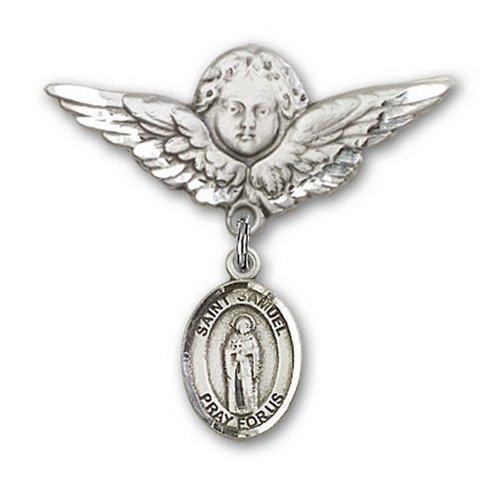 Icecarats Créatrice De Bijoux En Argent Sterling St. Samuel Charme Ange Broche De Badge 1 1/8 X 1 1/8