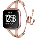 CAGOS Compatible Fitbit Versa Bands for Women Men, Versa Accessories Bracelet Stainless Steel Metal Replacement Wristband Strap for Fitbit Versa Smarwatch (Copper)