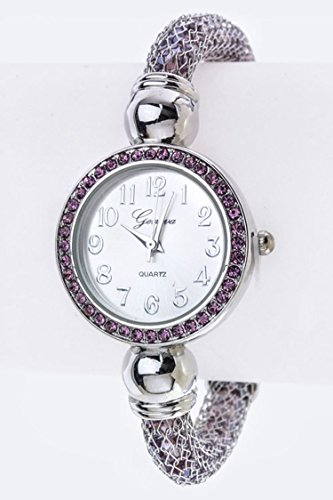 1900 Costumes For Sale (Trendy Fashion Jewelry Crystal Filled Mesh Tube Bracelet Watch By Fashion Destination | (Purple))