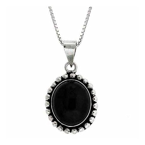 Onyx 18' Bead Necklace (Sterling Silver Onyx Bali Bead Oval Pendant, 18'')