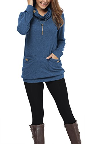 iGENJUN Women's Long Sleeve Button Cowl Neck Casual Tunic Tops with Pockets,Blue,S
