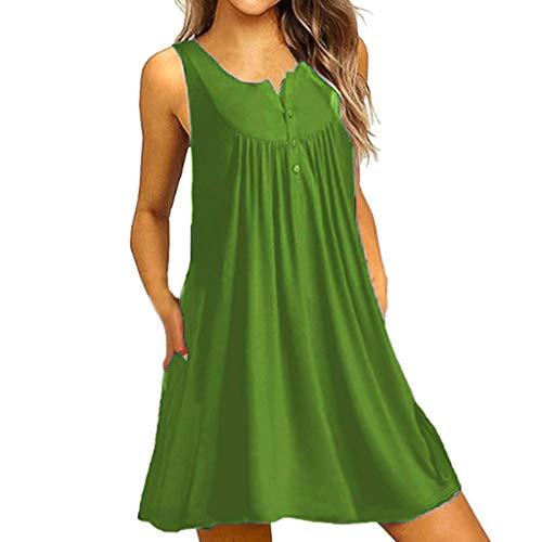 - Giulot Women Summer Casual T Shirt Dress Beach Cover Up Plain Pleated Henley Tank Dress Solid Sleeveless Outdoor Pocket Dress Green