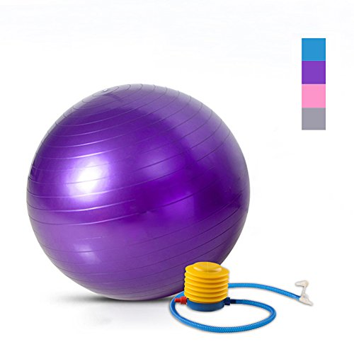 David Cartier 2016 Anti Burst Exercise Ball Swiss Ball with Foot Pump 65CM Purple