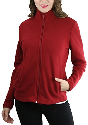 ToBeInStyle Women's Zip High Collar Polar Fleece L.S. Jacket - Burgundy - ()